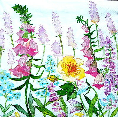 4 Lunch Paper Napkins  Decoupage Craft Vintage Party Napkin Meadow and Flowers