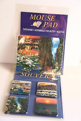 Table Coasters. 4 Pieces, plus 1 Mouse pad. Crete, Greece. New Sealed