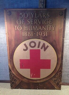 Antique VTG Red Cross 50 Year Service 1881 1931 Litho Poster Advertising Medical