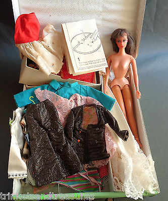 Vintage Live Action Barbie Lot Doll + Clothes  Outfits + Case 1960's 70's