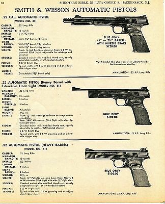 1969 Print Ad of Smith & Wesson S&W Model 41 Automatic .22 Pistol