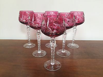 "Lausitzer RUBY CRANBERRY CUT TO CLEAR 8"" Wine Hock Glass  ~ Set of 6  ~ Germany"