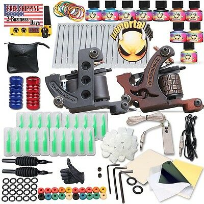 Complete Tattoo Kit 2 Machine Gun 10 Color Inks Power Supply - TOP quality
