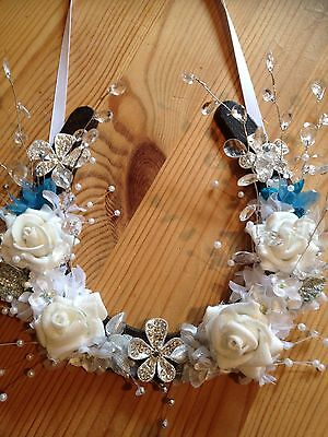 Wedding Lucky Horseshoe Cast Iron Bridal Gift White Roses Spray Crystals Brooch