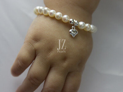 Freshwater Pearl 5 inch Bracelet Sterling Silver Heart Charm & Magnetic Clasp.