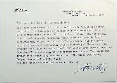 Karl Donitz German Naval Commander WW II Signed Autograph Typed Letter