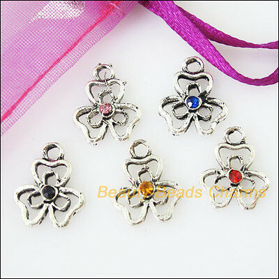 10 New Charms Tiny Heart Flower Leaf Pendants Mixed Crystal 12x14.5mm