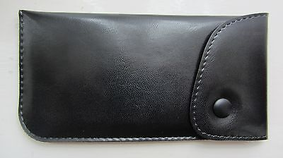 Soft glasses case, button top, popper, leather look, black, soft spectacle case
