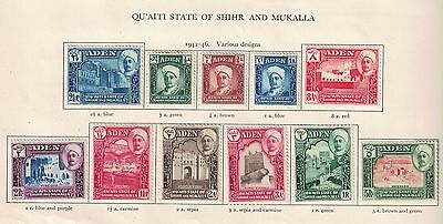 Aden State Hadhramaut 1942 S.G. 1 to 11 Complete Set Cat £70 Mint Hinged