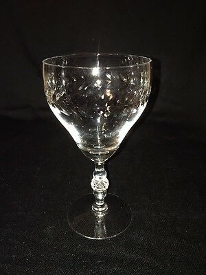 Duncan Miller Laurel Wreath Crystal Water Goblet Stem #503, Cut #640 c1943-55