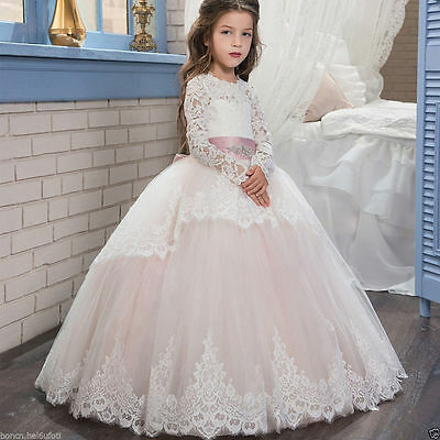 new Communion Party Prom Princess Bridesmaid Wedding Lace Flower Girl Dress