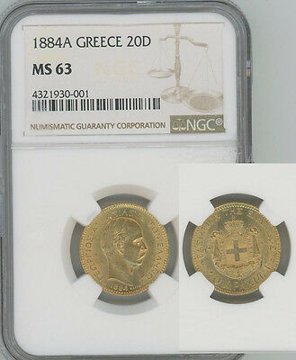 GREECE 1884 gold 20 Drachmai George I  NGC MS63