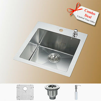 """Customized Designs 19"""" Top Mount Kitchen Bar Sink With Free Accessories KTR1921"""