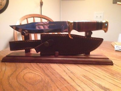 "14"" Solid Walnut Wood Knife and Sheath Display Stand"