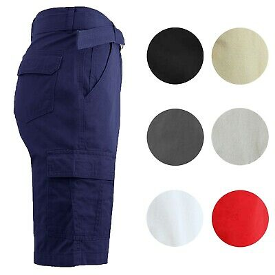 Mens Cargo Shorts Cotton Slim Fit Flat Front Belted Lounge Colors Pockets NWT