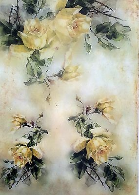 Rice Paper - for Decoupage - sheet - Scrapbooking - A4 - Yellow Roses
