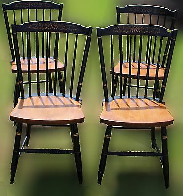 Vintage Farmhouse Maple and Black Hitchcock Dining Room Chairs ~ Set of 4
