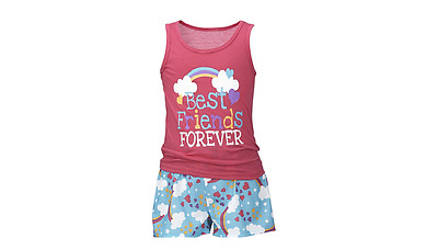 New Girls' BFF Sleepwear Short Set-Fuchsia-Size 8 & Size 10
