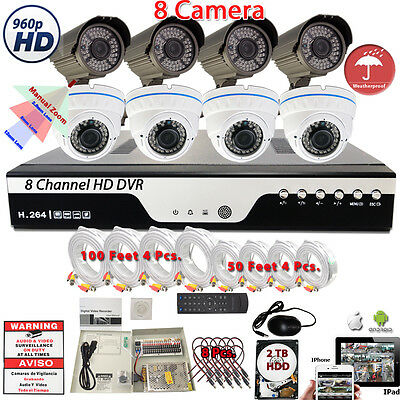 8 Ch H.264 DVR 8x HD Night Vision Home CCTV Outdoor Security Camera System w/2TB