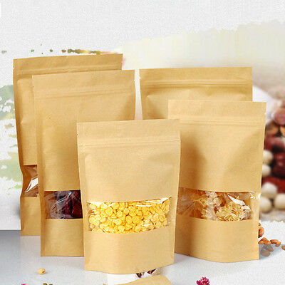 Kraft Paper Food Coffee Storage Bag / Window Stand Zip Lock Sealable Heat Seal