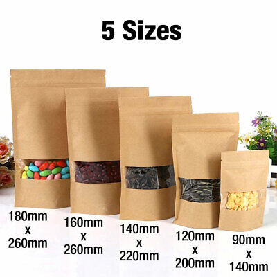 10 Kraft Paper Bag / Window Stand Pouch Up Zip Lock Sealable Heat Seal Display