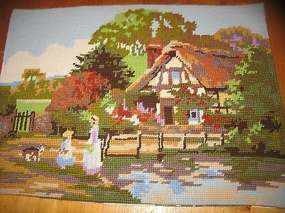 Country Cottage Completed Wool Tapestry with Surrounding Garden & Lady & Child