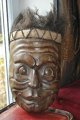 Wooden Handcarved Tribal Mask with 'hair' 39cm Great wall hanging - Vintage