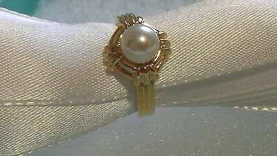 TIFFANY & CO 18K GOLD 6mm PEARL RING