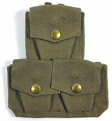 Authentic Canvas Military 303 Enfield Three Ammo Webbing Pouch Ww2 British Army