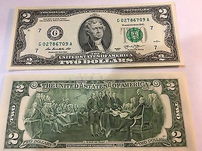NEW Uncirculated $2 (two) Dollar Bill Note  Sequential USD BEP --Chicago
