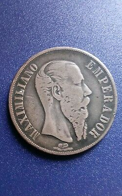 1867 Mo Mexico Empire of Maximilian One Peso Silver Coin
