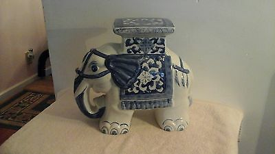 Large Ceramic White Glazed Asian Elephant Plant Stand Accent Patio Table