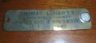 Thomas L. Bailey Nameplate - Mississippi Governor 1944 -1946