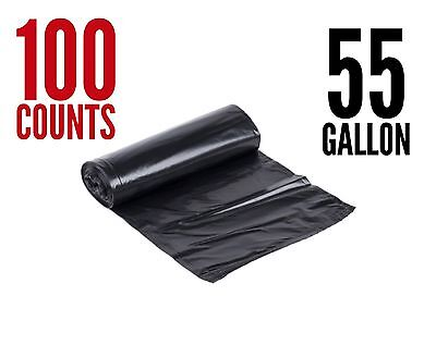 100 Large 55 Gallon Strong Commercial Trash Bag Heavy Garbage Duty Yard (Black)