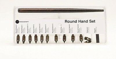 Manuscript Round Hand Set Dip Pen Holder 10 Calligraphy Nibs  (Combined Postage)