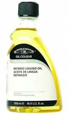 Winsor & Newton Refined Linseed Oil 2 x 500ml Botlles =  1000ml total