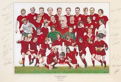 LIVERPOOL THE SHANKLY YEARS 1959 - 1974 MULTI SIGNED 12x8 INCH LAB PRINTED PHOTO