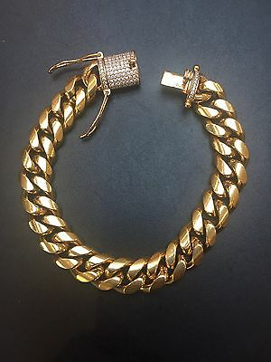 """12MM 8"""" Bracelet Mens Gold Miami Cuban Link Stainless Steel 18K Gold Plated"""