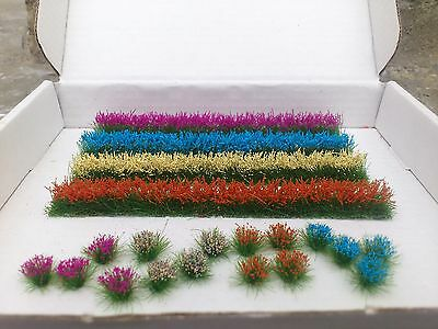 4 Flower strips/20 Flower Tufts for OO/HO gauge Model Railway/Dioramas/Scenery