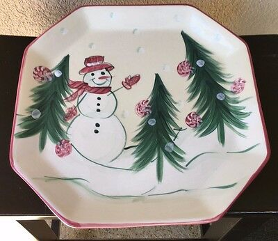 Retired Gail Pittman Octagonal PLATTER 2002 Snowman Yuletide Christmas Memories