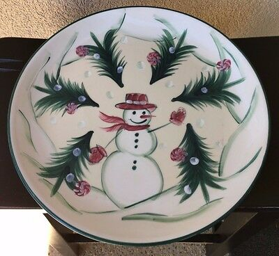 "Retired Gail Pittman 12"" Round PLATTER 2002 Snowman Yuletide Christmas Memories"