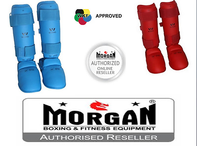 MORGAN WKF KARATE SHIN INSTEP GUARD PROTECTOR APPROVED tournament RED BLUE SML