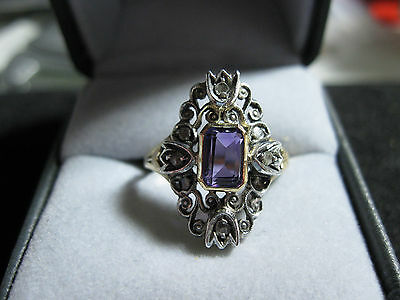 15c Georgian Amethyst/Diamond Ring, size 8,  c 1714-1837
