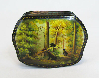 Russian Lacquer Painting Fedoskino Black Bears in Forest Trinket Box Container