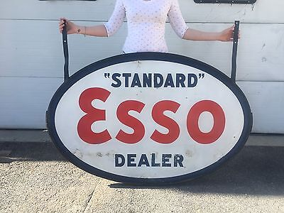 Porcelain ESSO Sign Large Dealer Oil Vintage Gas Garage Pump