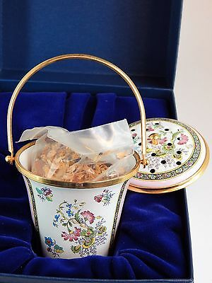 Halcyon Enamel Over Copper LARGE Potpourri Bucket With Handle and Original Box