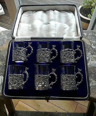 George V Set Of Six Silver And Glass Shot Glasses