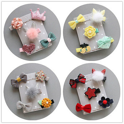 5Pcs/set Baby Girl Hair Clip Bow Flower Mini Barrettes Party Star Kids Hairpins