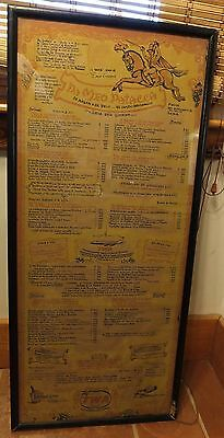 Vintage Large Wood Framed Lithographed Da Meo Patacca Menu From Twa Airlines