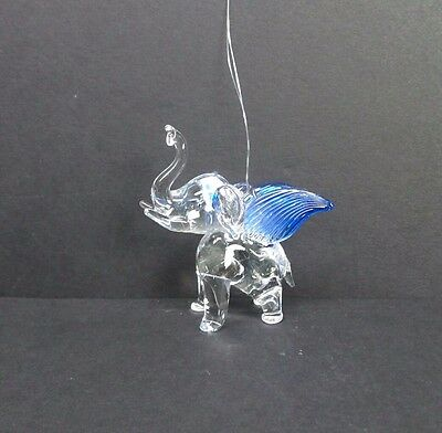 Hand Blown Glass Flying Elephant Ornament Dark Blue Wings Lucky Elephant Statue